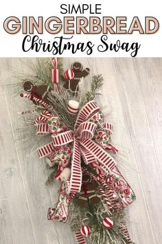 Learn How to Make a Gingerbread Swag for ChristmasThere's something special about making your own holiday decor. It doesn't matter if it's Halloween, Fall, Thanksgiving, or Christmas, it's just plain amazing. By Kelea's Florals Christmas Wreaths For Front Door, Christmas Swags, Christmas Signs Wood, Handmade Christmas Decorations, Xmas Wreaths, Xmas Decorations, Simple Christmas, Christmas Diy, Halloween Supplies