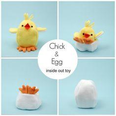 Chick a vejce. Uvnitř Softie. Šablona šití. DIY. Hospodařit