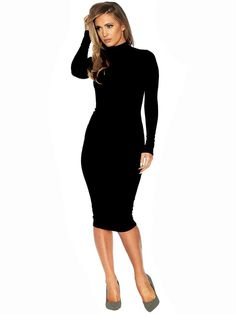 7a6353f910 Black Long Sleeve High Neck Midi Bodycon Dress