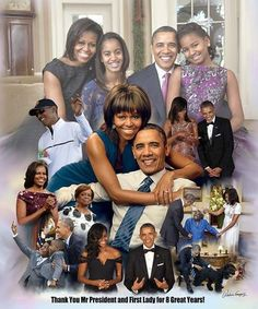 An art print created to thank the Obama family (President Barack Obama,Michelle Obama,Malia Ann Obama and Sasha Obama) for their service and sacrifice. Barack Obama Family, Michelle And Barack Obama, First Black President, Mr President, Joe Biden, Durham, Cedric The Entertainer, American First Ladies, American Women