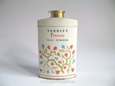 YARDLEY FREESIA Talc Powder, vintage tin of perfumed talcum powder, 1950s-1960s by Royal Appointment, by VintageImageBox,