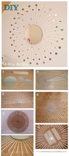 DIY Mirror Projects • Tons of Ideas & Tutorials! Including this sunburst mirror project from le blog de bea.