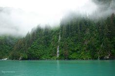 Waterfalls into Prince William Sound near Valdez