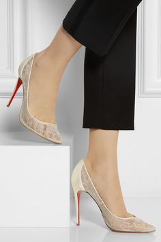 Christian Louboutin | Pigalace 100 satin and lace pumps | NET-A-PORTER.COM