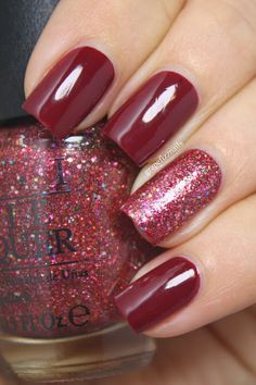 OPI Just A Little Rosti At This dark red nail polish with Excuse Moi! Glitter Accent Nail by grape fizz nails Fancy Nails, Love Nails, My Nails, Colorful Nail Designs, Nail Art Designs, Nail Polish Designs, Nails Design, Design Design, Nagel Blog