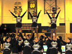 New Dorp high school cheerleaders in Chassé uniforms