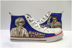 Back to the Future custom design Trainers - Canvas high top trainers (baseball trainers)    Hand inked, finished and sealed/ waterproofed for