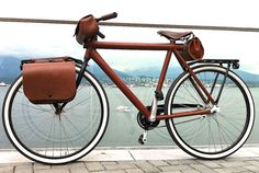 Hand stitched leather dressed #Vanmoof bike by #TziganLeather