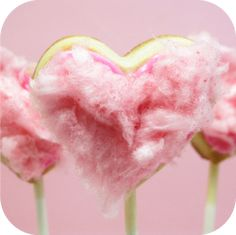Valentine's  Heart Cookie Pop.  pink frosting with pink cotton candy on top!