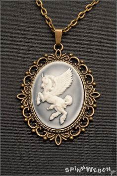 New Pegasus Locket  necklace amulet link chain by SpinnWeben