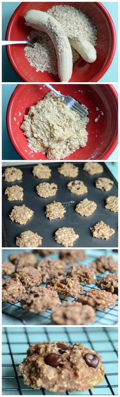 healthy cookies: 2 ingredient cookies (bananas + oats) plus the mix-ins of your choice! -The Burlap Bag Two Ingredient Cookies, Three Ingredient Recipes, Healthy Cookies, Healthy Treats, Healthy Desserts, Oatmeal Cookies, Baby Food Recipes, Dessert Recipes, Cooking Recipes