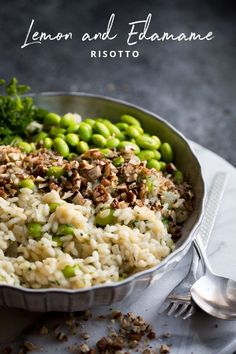 Lemon and Edamame Bean Risotto with Pecan Nuts, a fun twist on a classic dinner! Vegan Dinner Recipes, Vegan Dinners, Veggie Recipes, Vegetarian Recipes, Cooking Recipes, Healthy Recipes, Chicken Recipes, Vegetarian Kids, Kid Recipes