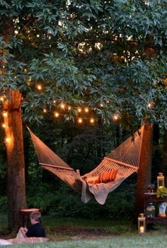 Backyard Hammock Backyard hammock plus tree lights makes magic. I will buy my home and plant two trees for my hammock in the first summer! The post Backyard Hammock appeared first on Garten. Backyard Hammock, Backyard Landscaping, Hammocks, Landscaping Ideas, Outdoor Hammock, Outdoor Beds, Garden Gazebo, Pergola Patio, Patio Ideas