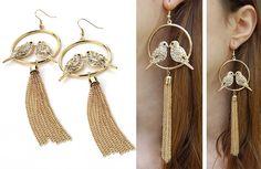 Boucles d'oreilles pendantes oiseau. www.milena-moda.com