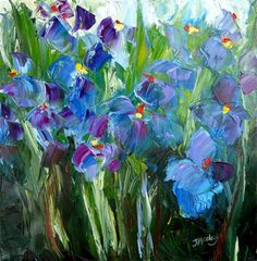 """❀ Blooming Brushwork ❀ garden and still life flower paintings - """"Blues"""" by Judy Mackey"""