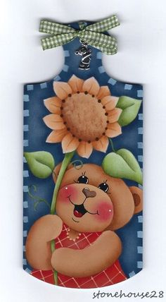 HP TEDDY BEAR with Flower ..Mini Breadboard with Charm FRIDGE MAGNET #Handpainted
