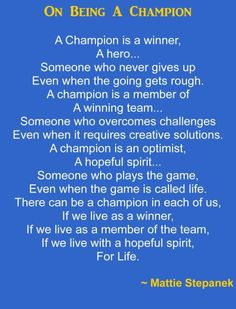 Are YOU a CHAMPION?  I'll bet you are!