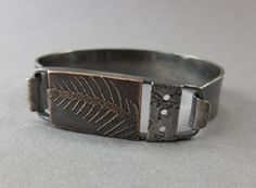 Thomasin Durgin. Sterling silver and etched brass. Love her work! Ring Bracelet, Ring Earrings, Bangle Bracelets, Bangles, Jewelry Art, Man Jewelry, Jewellery, Mixed Metal Jewelry, Metal Art