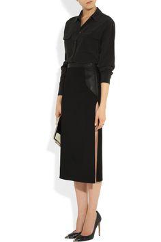Esteban Cortazar Leather-trimmed stretch-cady skirt NET-A-PORTER.COM