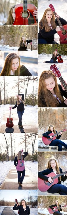 Senior session with a guitar. Senior girl and guitar. Winter Senior Session. Guitar photo ideas | M Rose Photography