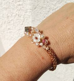 Wire crochet OOAK bracelet Spring flowers blossom pearls pink tourmaline labradorite moon stone quartz mother of pearl garnet and beads Wire Crochet, Blossom Flower, Quartz Stone, Pink Tourmaline, Cultured Pearls, Pearl Beads, Spring Flowers, Wire Jewelry, Labradorite