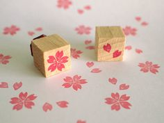 cherry blossom   set of 2 mini stamps  15x15mm by SiebenMorgen, €6.00