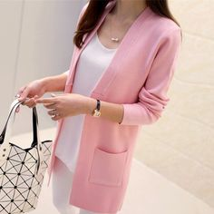 Elegant Pocket Knitted Outerwear