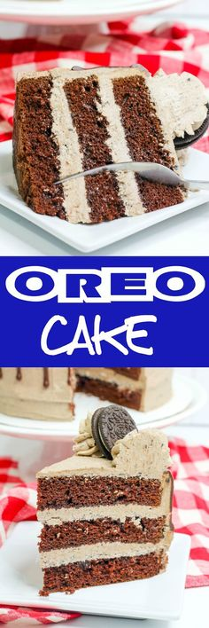 Oreo Cake: Moist chocolate cake with an out of this world Oreo buttercream.You'll be making this one over and over again! via @bakingbeautyblog Oreo Cake Recipes, Delicious Cake Recipes, Homemade Cake Recipes, Yummy Cakes, Dessert Recipes, Oreo Dessert, Tart Recipes, Frosting Recipes, Fruit Recipes