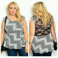 New Womens Lace Black White Peplum Blouse Party casual Top Shirt Plus Size 1X