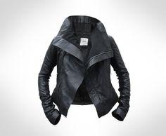 Custom Black Leather Biker Jacket by J.O.D (€295.00)