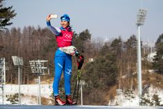 Greece's Maria Ntanou takes a selfie during a cross-country practice session at the Alpensia Cross-Country Skiing Center on February 8, 2018.
