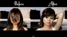 Want to know how to cut bangs all on your own? Wouldn't it be nice to know how to cut bangs? Isn't it such a drag having to go to the salon only to get your bangs trimmed? It's not only a waste of time, it's a waste of money too. Well, the truth Diy Side Swept Bangs, Cut Side Bangs, How To Cut Bangs, Haircuts For Long Hair, Haircuts With Bangs, Trendy Hairstyles, Short Haircuts, Haircut Diy, Curly Bangs