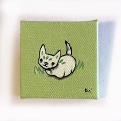 Leaf Cat Creature Painting Miniature Tiny Art Acrylic on Canvas by Karen Watkins 2016