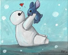Lilo and Stich and Big Hero 6: Baymax and Sitch  Colour Art