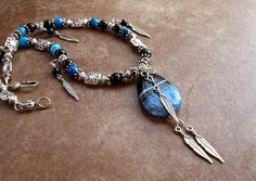 Southwest Blue Geode Druzy Onyx Agate Necklace by TLoweDesigns, $44.70