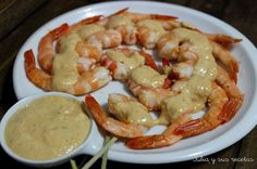 langostinos, langostinos en salsa, marisco, Julia y sus recetas, aperitivos, tapas, entrantes, camarones en salsa, camarones