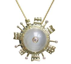 "Alex Sepkus ""Eye"" pendant, 18KY, Moonstone, .10 ctw Diamonds, includes a 19"" 18KY chain, $4,740.00"