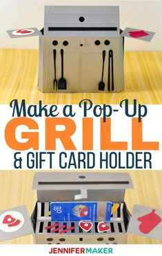 Grill Card: This Pop-Up Paper Grill and Gift Card Holder is great for dads and new home owners! #giftcard #papercraft #grills #cards #handmade #cricut #silhouette #popup