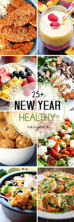 25+ Healthy New Year Recipes - breakfast, lunch, dinner, and dessert, and even some healthy snacks, you'll find plenty of light and delicious recipe ideas in this collection, whether you are looking for vegan, low calorie, low carb, gluten free, paleo, and more.