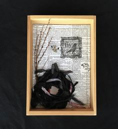 Black and White Handmade Bird Nest Collage, found object assemblage, bird rubber stamp, bird charm, housewarming gift, inspirational gift by thebranchthatbends on Etsy