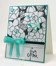 Stampin' Up! ...handmade card ... black and white with pops of turquoise ... printed vellum  ... sequins ... bold and beautiful!