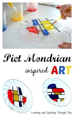 Learning and Exploring Through Play: Piet Mondrian Preschool Art.  Art ideas for preschoolers and toddlers.  Sun Catchers.  Primary colour crafts and activities.