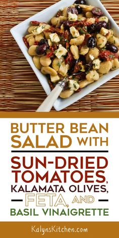 This Butter Bean Salad with Sun-Dried Tomatoes, Kalamata Olives, Feta, and Basil Vinaigrette is perfect for summer parties! Diet Salad Recipes, Vegetarian Recipes, Cooking Recipes, Olive Recipes, Bean Recipes, Dry Beans Recipe, Olive Salad, Dried Beans, Healthy Lunches