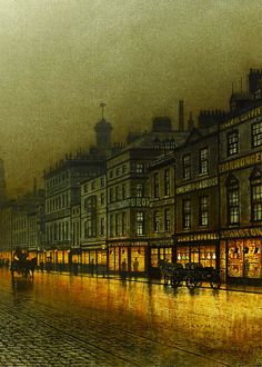 wycherley:    John Atkinson Grimshaw (1836-1893), Greenock Harbour at Night (detail), 1893