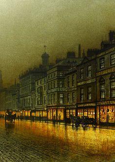 wycherley:    John Atkinson Grimshaw (1836-1893), Greenock Harbour at Night (detail), 1893