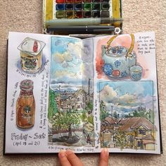 Friday and Saturday's visual journal. Love the sunny day clouds. ✒️