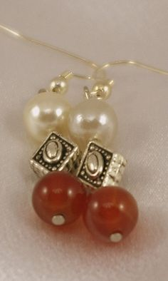 Carnelian and Faux Pearl Earrings with Silver by BlingbyDonna, $16.00