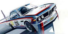 BMW artwork by Radu Muntean M Bmw, Bmw E9, Car Illustration, Car Posters, Car Sketch, Car Drawings, Car Painting, Bmw Cars, General Motors