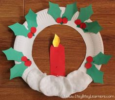 Christmas Paper plate craft | Paper plate wreath with candle Craft for kids | Christmas