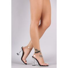 Liliana Lucite Ankle Strap Open Toe Chunky Heel ($92) via Polyvore featuring shoes, pumps, ankle strap shoes, chunky heel shoes, clear pumps, ankle wrap shoes and clear-heel shoes